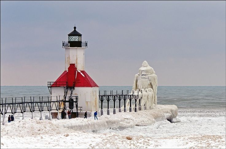 The 35-foot St. Joseph Lighthouse, built in 1844, photographed by Tom Gill. Lake Michigan