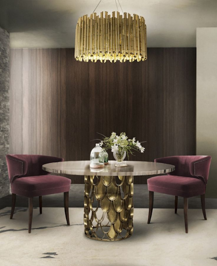 Brabbu | Dining room sets: upholstered dining room chairs with dining room table and dining room lamps suspended. Beautiful dining room ideas | See more at diningroomideas.eu