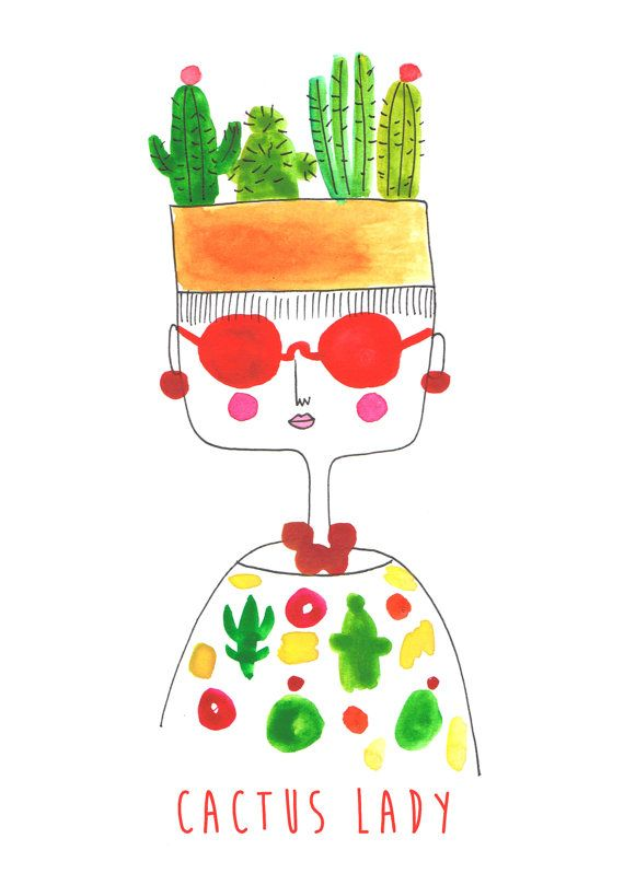 cactus art cactus lady quirky print quirky art by diarysketches, $11.00