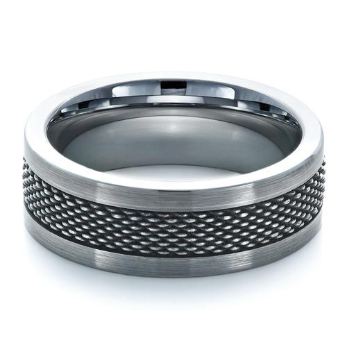 #1335 Tungsten jewelry is available at Joseph Jewelry.This tungsten carbide men's band features an inlay of textured stainless steel that has been partly antiqued.