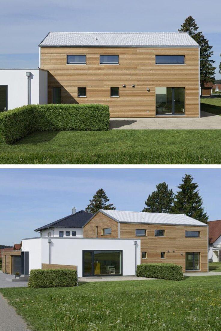 Holzhaus modern mit doppelgarage und b ro anbau for Einfamilienhaus mit doppelgarage modern