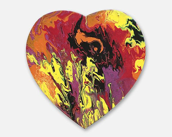 Heart shaped painting original abstract painting on canvas
