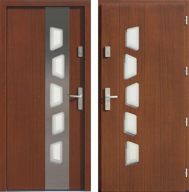 Drzwi wejściowe z aplikacjamii ze stali nierdzewnej inox wzór 451,1-451,21+ds1 teak