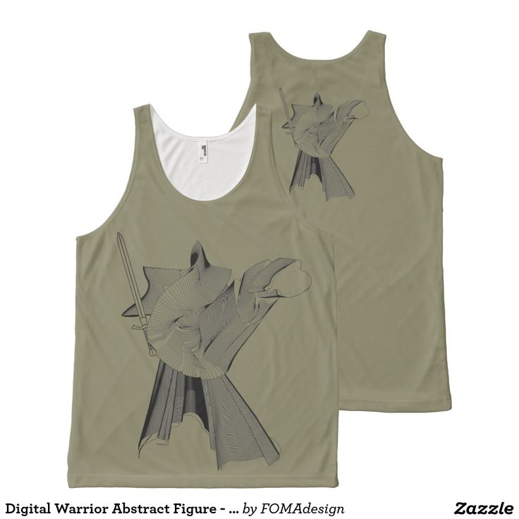 Digital Warrior Abstract Figure - Custom Background Color / All-Over Print Tank Top, by FOMAdesign