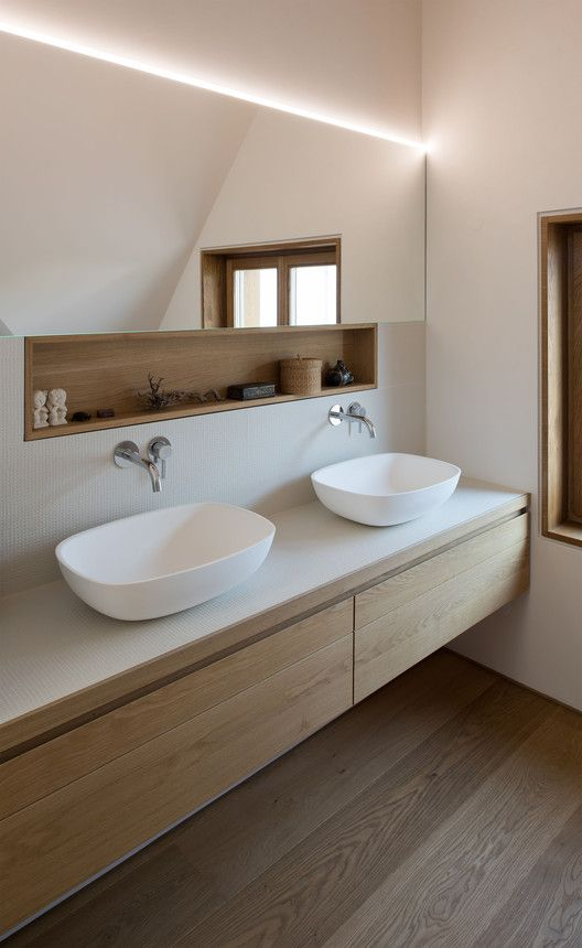 Minimalist bathroom. Wood, white, neutral.