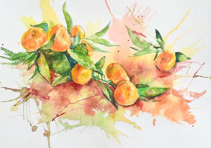 Скучно рисовать фон в натюрморте? Напишите мандарины акварелью с использованием клякс!