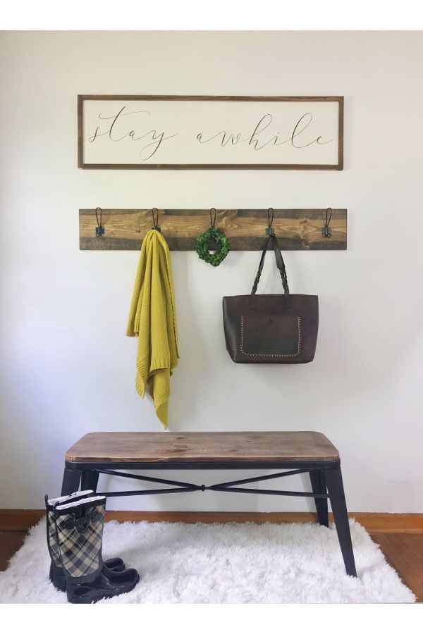 Stay Awhile Wood Sign Entryway Signs Farmhouse Wall Decor