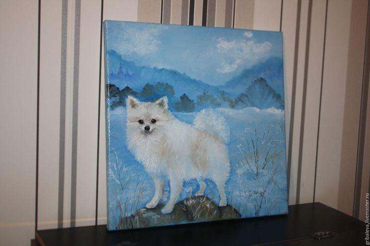 Купить Картина маслом Зимняя прогулка Белый шпиц 40 на 40 см - голубой