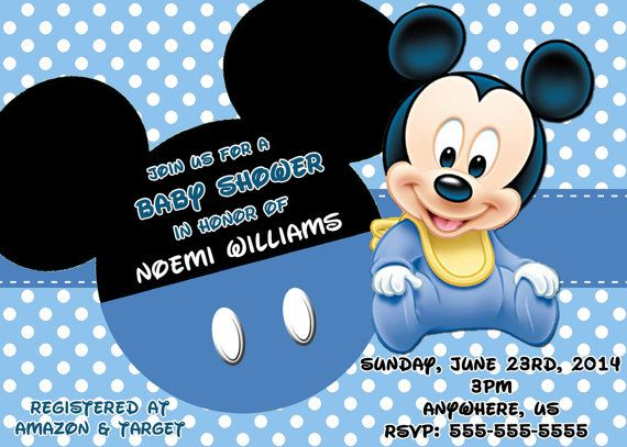 Baby Mickey Mouse Baby Shower Invitations Ultrasound FREE SAME DAY SERVICE  Print Your Own   You
