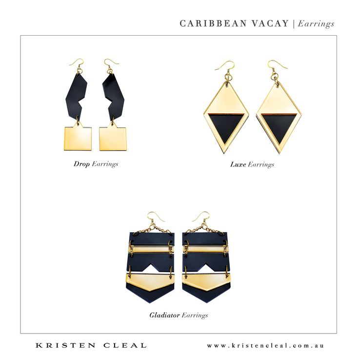 Black + Gold Jewellery by Kristen Cleal Designs  Caribbean Vacay 2014 Collection