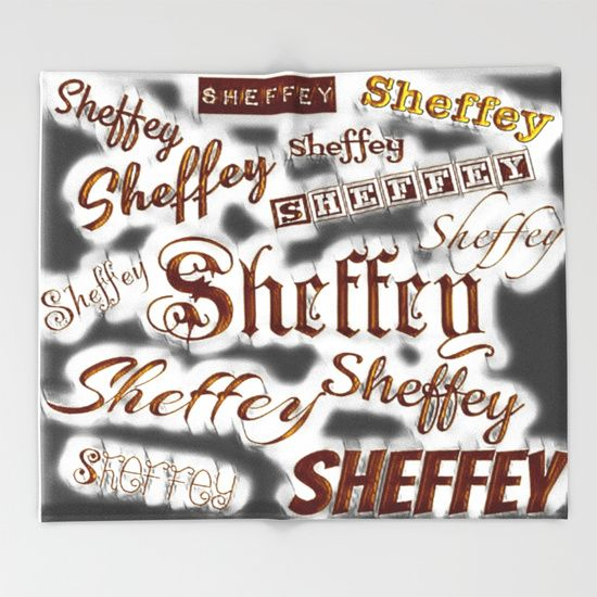 Sheffey Fonts - Gray and Bronze 9643 throw blanket, great housing warm / wedding gift for anyone named Sheffey