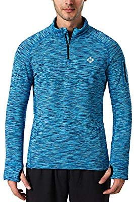 0c73d2e5df52 Amazon.com: NAVISKIN Men's 1/4 Zip Pullover Thermal Thumbholes Running Long  Sleeve Shirts Workout Outdoor Tops Blue Size S: Sports & Outdoors