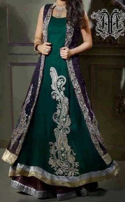 Pakistani Fashion,#Pakistani dress Dark green and silver with dark purple coat Pakistani maxi dress
