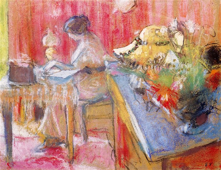 The Athenaeum - The Letter (Edouard Vuillard - )Private collection Dates: Date unknown Dimensions: Height: 24.8 cm (9.76 in.), Width: 32.5 cm (12.8 in.) Medium: Drawing - chalk Oil and pastel on paper