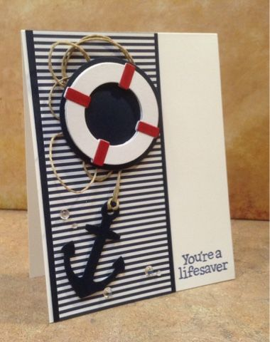 "Cimbacreativefun: Lifesaver. Fun nautical card made with die cuts from MFT ""Let's Get Nautical"" and Lawn Fawn stamp from ""Float My Boat"" set. Also used patterned paper, rainstones and jute cord from my stash, card stock from Gina K. Designs, Wink of Stella, and foam tape for dimension."