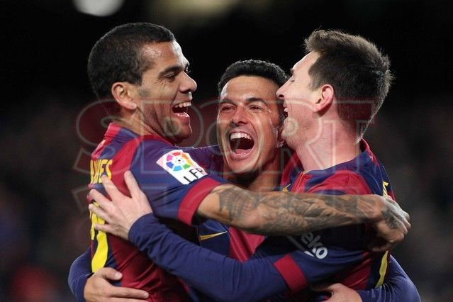 Dani Alves, Pedro Rodríguez & Lio Messi en pleno disfrute | Barça, 5 - Espanyol, 1