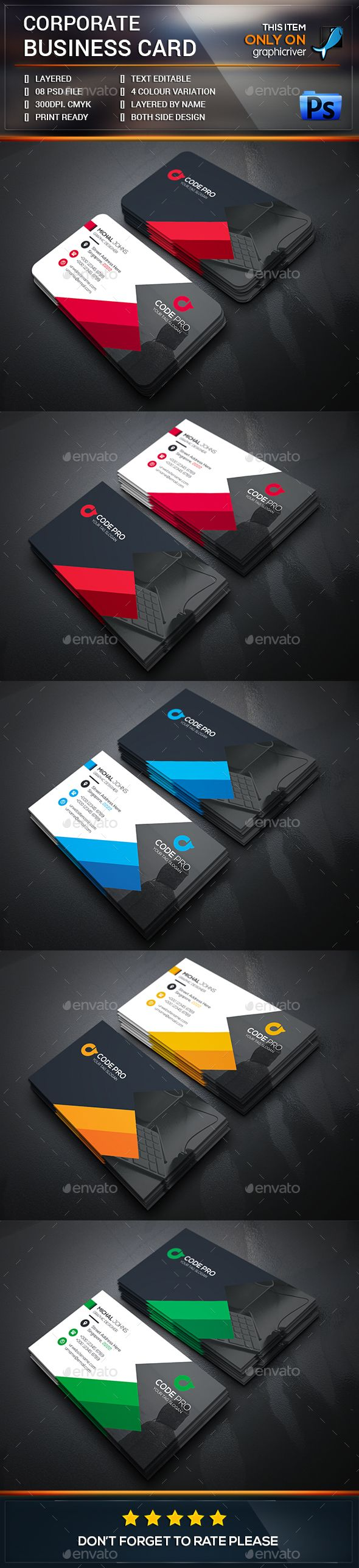 Modern Business Card — Photoshop PSD #landscape #white • Available here → https://graphicriver.net/item/modern-business-card/13587606?ref=pxcr