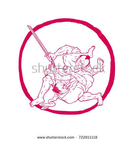 Drawing sketch style illustration of a Samurai warrior with katana sword Ju Jitsu Fighting or judo set inside Enso Circle on isolated background.  #samurai #drawing #illustration