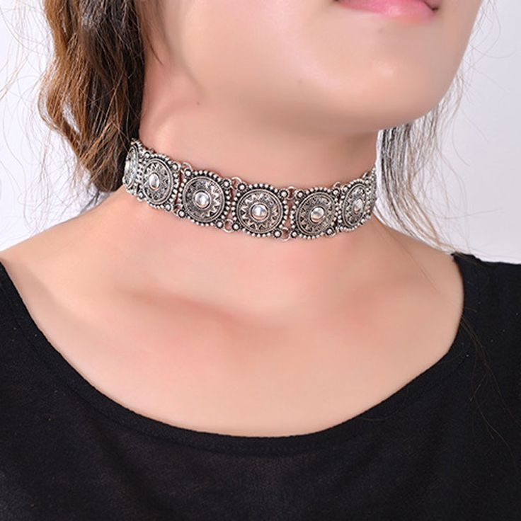 2016 Hot Boho Collar Choker Silver Statement Necklace Jewelry for Women Fashion Vintage Ethnic Style Bohemia Turquoise Bead Neck