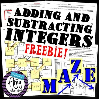 Adding and Subtracting Integers 4 by 5 Maze