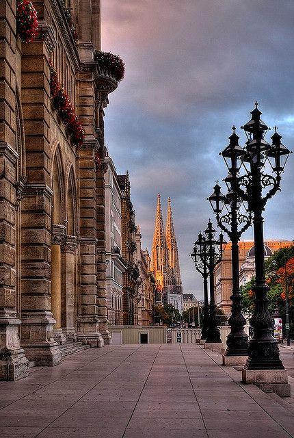 A sidewalk that begs to be walked on in Vienna, Austria