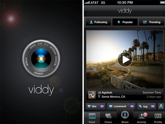 Viddy is a simple way to capture, create, and share short, 30-second mobile videos with friends