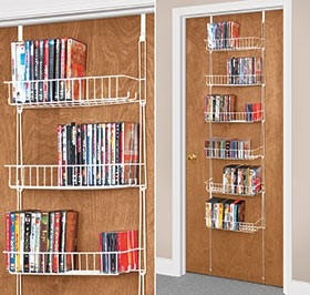 Over the door shelves for DVD storage. I wonder if something like this would be good in the bedrooms...