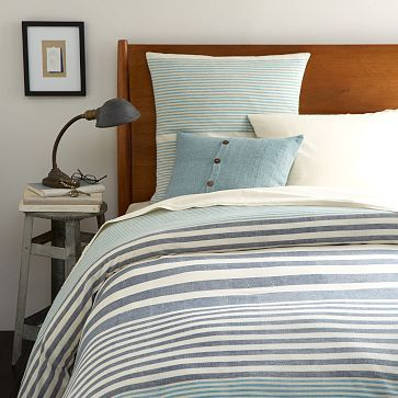 Steven Alan Stripe Duvet Cover + Shams - Midnight #westelm. King on sale for $135, but I don't like duvets. Wish it was a comforter.