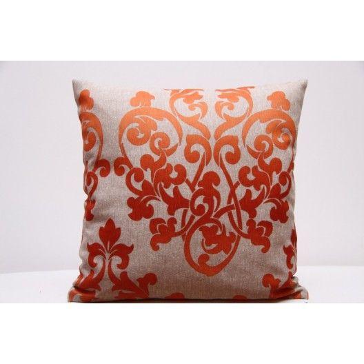 Dekoračné obliečky na vankúš béžové s oranžovým abstraktným vzorom