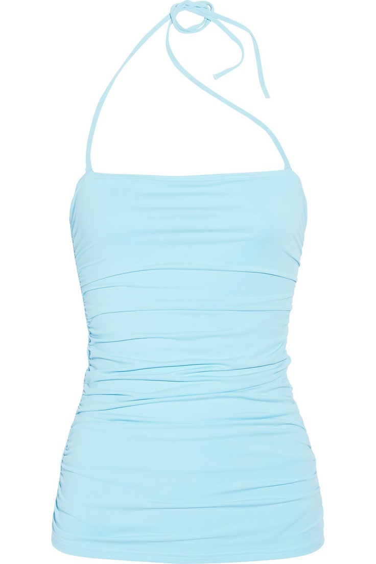 Melissa Odabash's sky-blue bahamas bandeau swimsuit with a ruched overlay