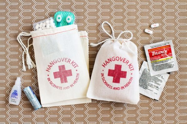 These hangover kits would make such cute wedding favors for a party crowd! | http://www.weddingpartyapp.com/blog/2014/10/09/wedding-day-emergency-kit-ideas/