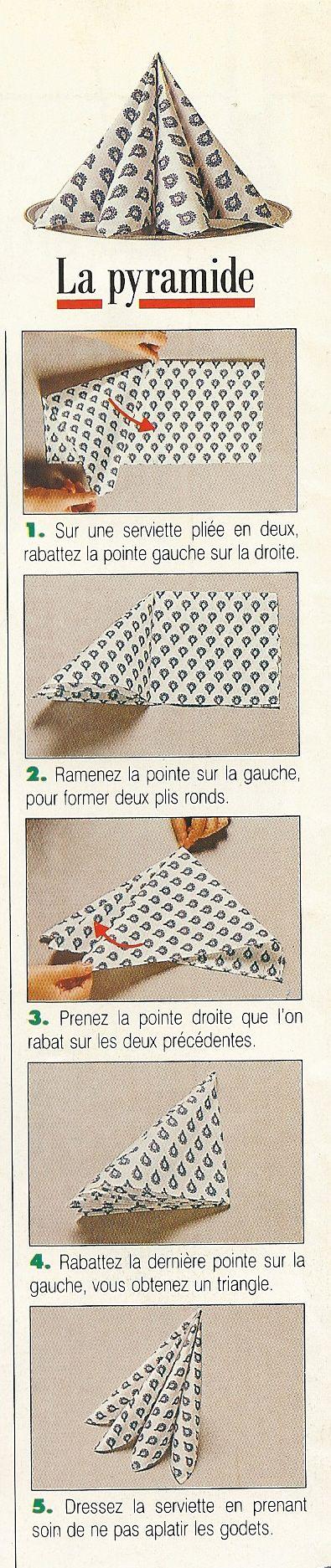 Pliage de serviettes en forme de pyramide.