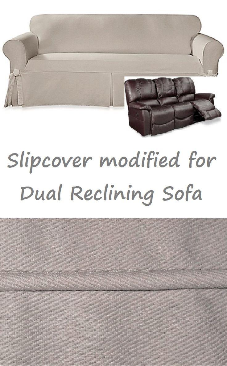 Dual Reclining Sofa Slipcover Farmhouse Twill Taupe Sure