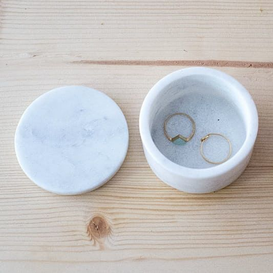 WHITE MARBLE JAR Small