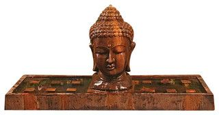 Buddha Head Outdoor Fountain - Large, Absolute - asian - outdoor fountains - by Soothing Company $1,849