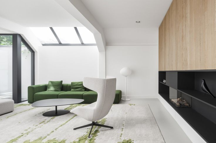 White interior, contemporary fireplace, skylight - Home 11 / i29 interior architects