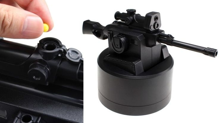With this USB-powered desktop sniper rifle you'll never miss another deadline again because of idle chit-chat and other distractions from your co-workers. Ideal for cubicle-type setups where you're protected on three sides, this tiny gun fires plastic BBs perfect for annoying, harassing, or intimidating your office neighbors.