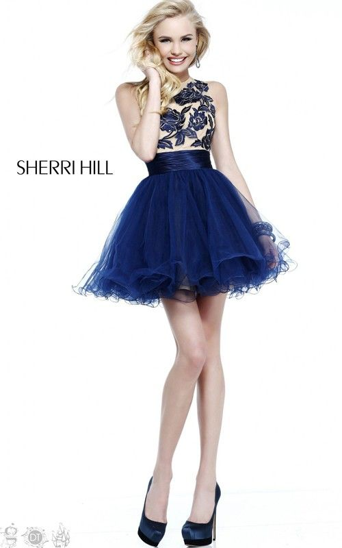 Navy Sweet Sherri Hill Short Cocktail Dress 21219