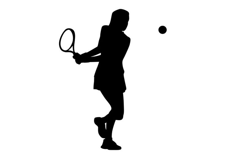 Girl Playing Tennis Black Silhouette On White Background