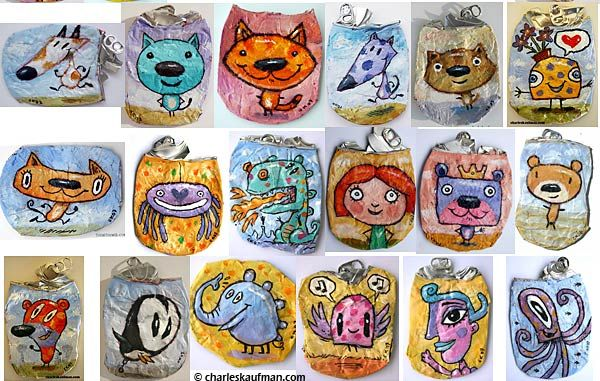 More Crushed Can Art!Each crushed can is hand painted. - Not a print glued onto the can.    Questions? e-mail       Crushed Can Art Blog  Get the latest news & photos in the Crushed Can Art world!
