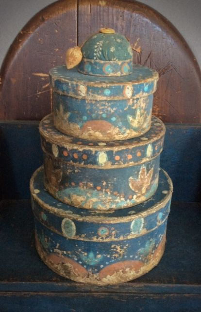 Paint Decorated Boxes in Blue - Stack of 3