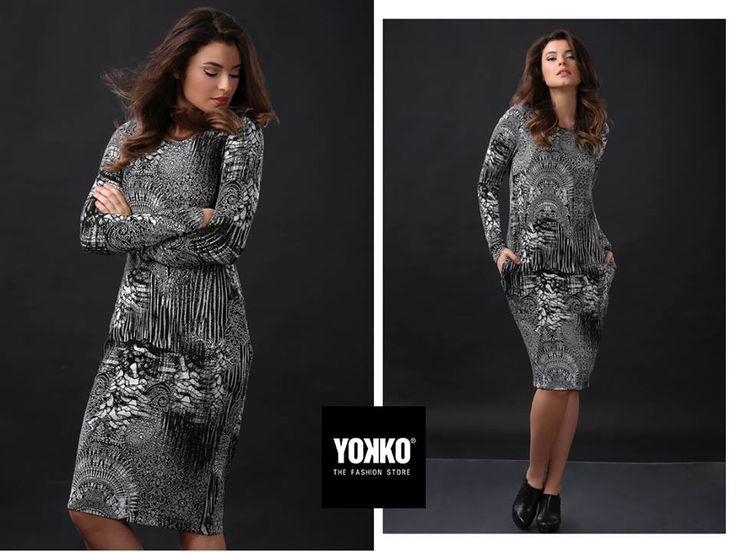 Eleganta in alb & negru   rochia ANAIS ✨ YOKKO   fall16 #dress #white #black #elegant #prints #fall #yokko
