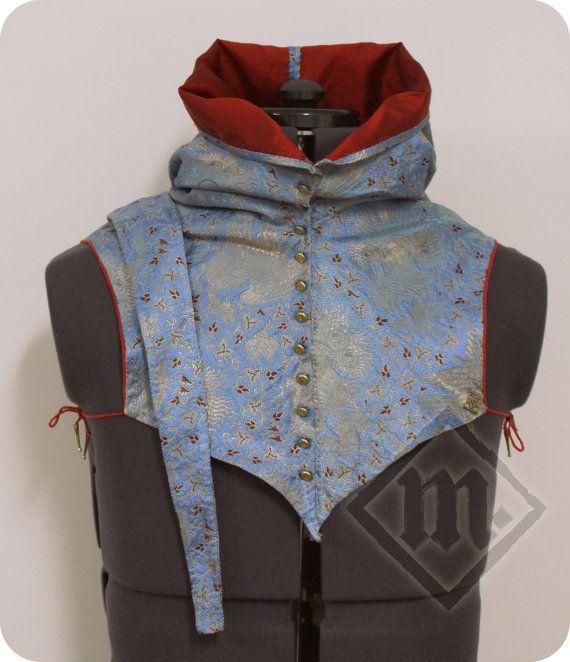 Italian Style 14th Century Men's Brocade Hood by LadyMalinaCom