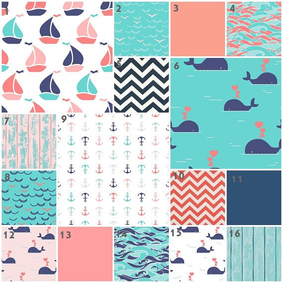 Nautical Crib Bedding Baby Girl Sweet Sailor Baby Bedding, Coral, Pink, Aqua, Mint, Navy, Nautical, Anchors, Whales Girl Nursery