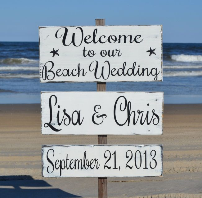 Wedding Website Domain Name Ideas: Large Directional Welcome Beach Wedding Personalized Wood