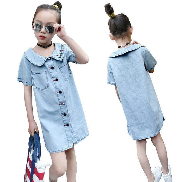 16.99$  Watch here - http://ali9yf.shopchina.info/1/go.php?t=32811543418 - Kids Dresses For Girls Blouses Letter Long Denim Shirts For Girls Dresses Casual Children Sundress Brand Summer Teenage Costumes  #bestbuy