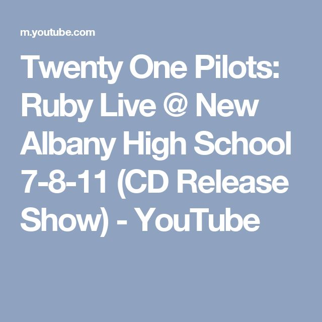Twenty One Pilots: Ruby Live @ New Albany High School 7-8-11 (CD Release Show) - YouTube