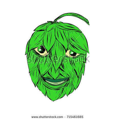 Drawing sketch style illustration of a Hops Man or green man smiling viewed from front on isolated background.  #hopsman #drawing #illustration