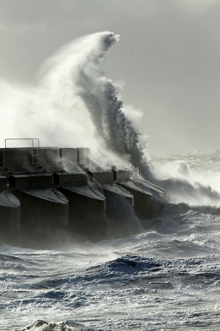 Huge waves crash the Brighton Marina harbour wall during Storm St Jude. Oct 2013