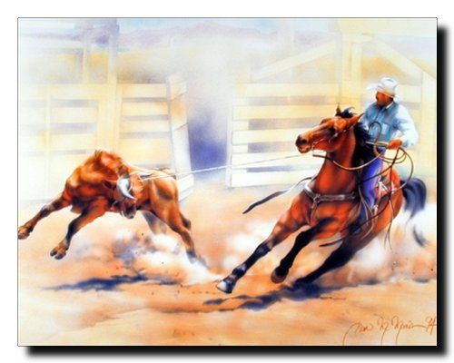 Personalize your space with this wonderful western Rodeo cowboy calf roping horse wall decor. This cowboy poster would surely livening up any space and providing simple visual interest on your wall surfaces. It would be a great addition for your living room and brings cozy, charming touch to your place. This horse wall decor will make a great gift for horse riding lovers. Hurry up! Grab this wonderful wall poster for its durable quality and high degree of color accuracy.